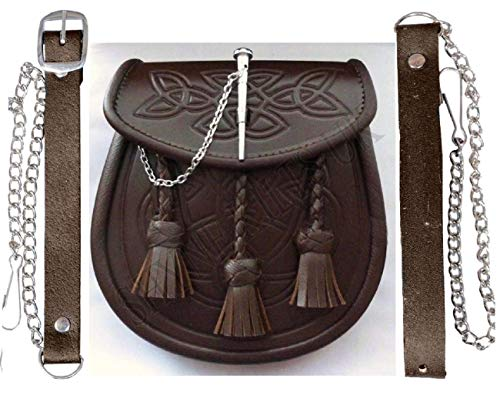 SHYNE Kilt Sporran Celtic Embossed Brown Leather Latch PIN Detail and Chain for Kilts