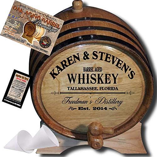 Personalized American Oak Whiskey Aging Barrel (063) - Custom Engraved Barrel From Skeeter's Reserve Outlaw Gear - MADE BY American Oak Barrel - (Natural Oak, Black Hoops, 5 Liter)