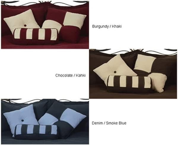 LCM 家居时尚超细纤维可逆抱枕 3 件套牛仔布烟蓝