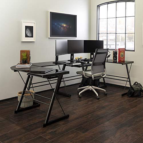 Walker Edison Modern Corner L Shaped Glass Computer Writing Gaming Gamer Command Center Workstation Desk Home Office, Set of 2, Black