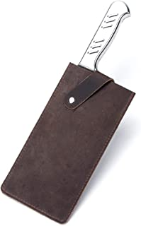"""Crazy Horse Leather Knife Sheath, Universal Meat Cleaver Covers, Waterproof Butcher Chef Knife Edge Guards, Durable Wide Knife Protectors, Heavy Duty Kife Blade Shield Guard, 8.27""""Lx3.9""""W (Brown)"""