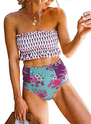 Dokotoo Womens Floral Print Push Up Beach Summer Strapless Smocked Ladies Bikini Set Ruffled High Waist Swimsuit Bathing Suit 2 Pieces Swimear Swim Bottom