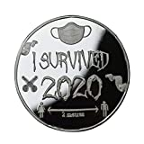 'I Survived 2020' - Silver Plated Commemorative Coin - 50P Shaped - Capsuled Memories of The Past Gift Special Souvenir Give A Smile to Your Family and Friends (Sliver)