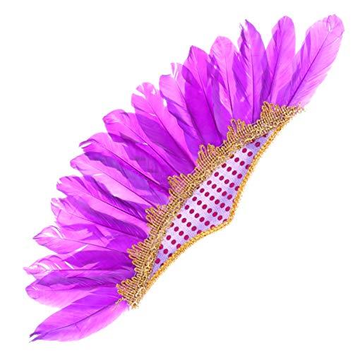 PRETYZOOM Disfraces de Carnaval para Mujeres Alas de ngel Adultos Showgirl Tocado Flapper Traje Caribeo Pluma Tocado Plumas- Tocado de Plumas Indio Halloween Fiesta Tocado de Plumas