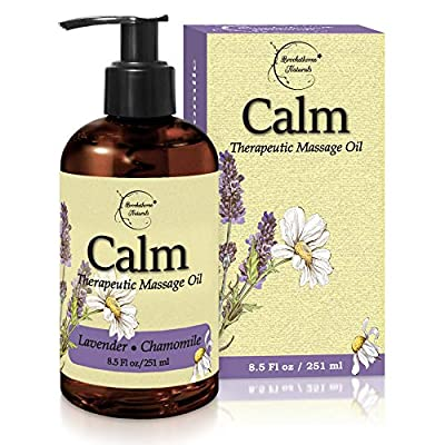 Calm Massage Oil with Lavender & Chamomile Essential Oils to Relax Sore Muscles - For Massage Therapy & Home use ? with Coconut, Grapeseed & Jojoba Oils for Smooth Skin? Brookethorne Naturals - 8.5oz
