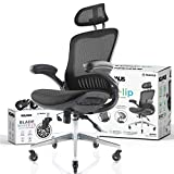 NOUHAUS ErgoFlip Mesh Computer Chair - Black Rolling Desk Chair with Retractable Armrest and Blade Wheels Ergonomic Office Chair, Gaming Chairs, Executive Swivel Chair/High Spec Base