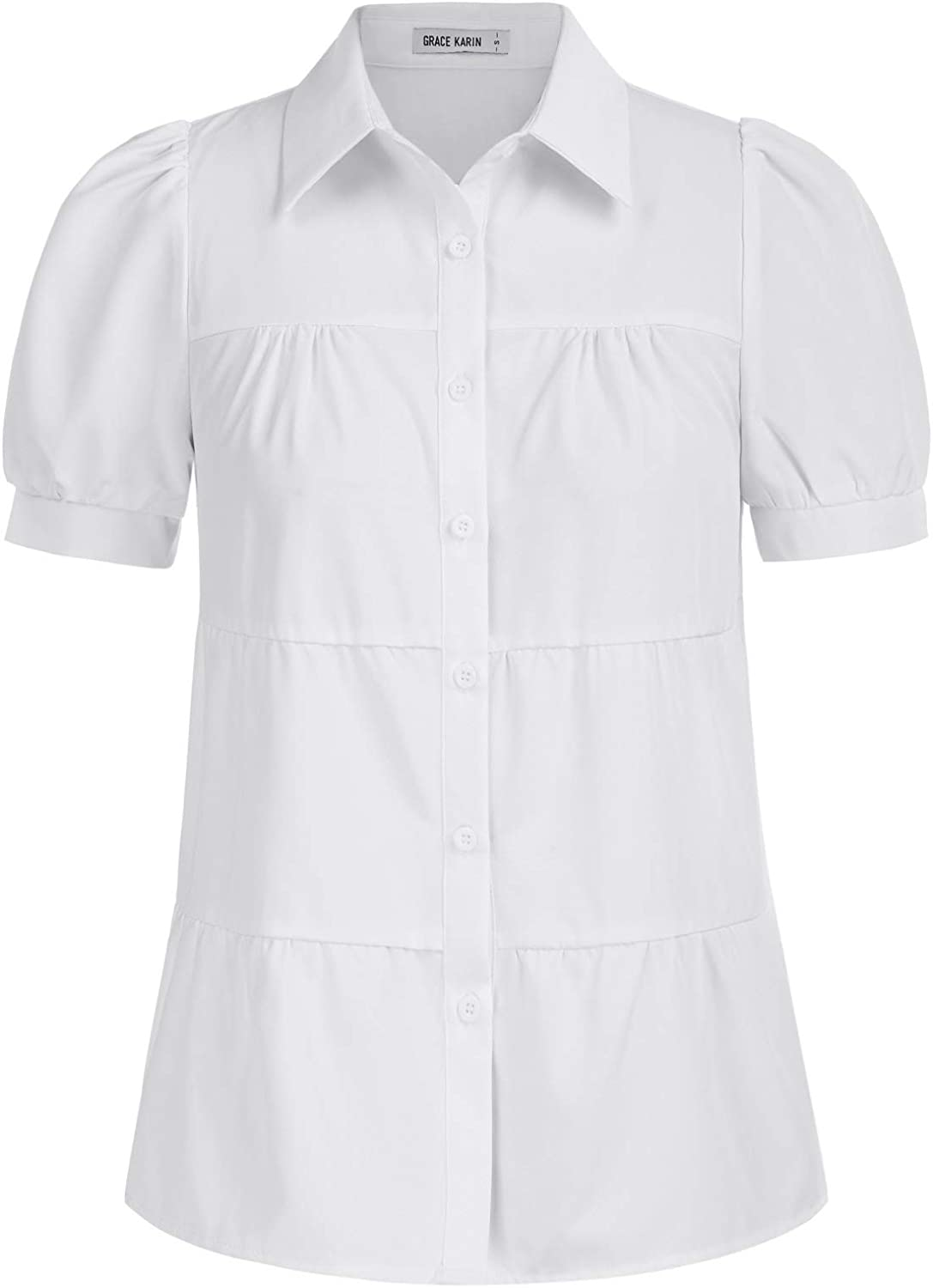 Women's Button-Down Shirts Puff Short Sleeve V Neck Tiered Summer Casual Blouse Tops