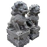 LXLH Escultura del león de la Buena Suerte, estatuas de los Leones de Beijing Par de Perros Fu Foo Decoración Feng Shui Piedra Azul auspiciosa Tradicional China Alejar la energía maligna