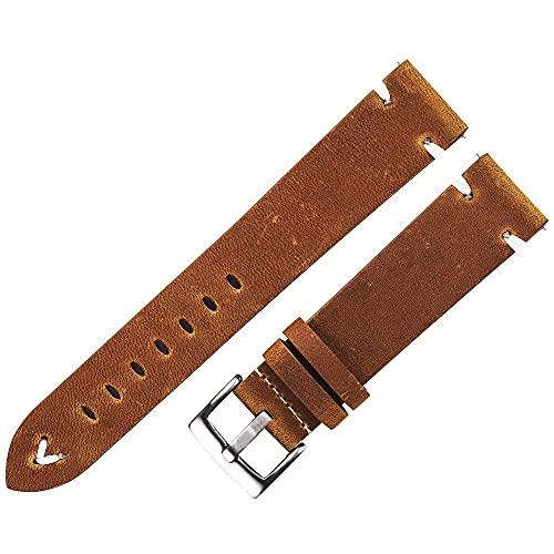 Cinturino per orologio Cinturino in pelle Cinturino per orologio in pelle nera cerata marrone scuro 18 mm 20 mm 22 mm Cinturino per orologio a sgancio rapido Cinturino per orologio fatto a mano d
