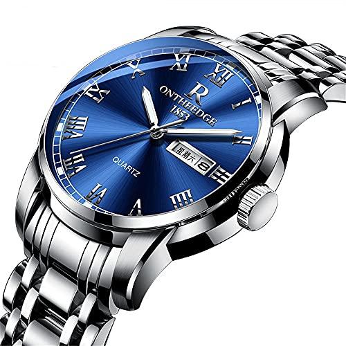 YiChuangMaoYi Reloj de Banda de Acero de la Caja de Acero Inoxidable Reloj de Cuarzo Genuino de los Hombres Reloj no mecánico de Tres Manos (Color : B)