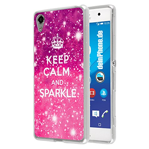 deinPhone Sony Xperia M4 Silikon Hülle Case Keep Calm Glitzer