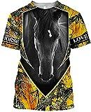 Camiseta Termica Niño Azul Camiseta Love Horse Camisetas Estampadas En 3D Mujeres para Hombres Tops De Verano-XXL