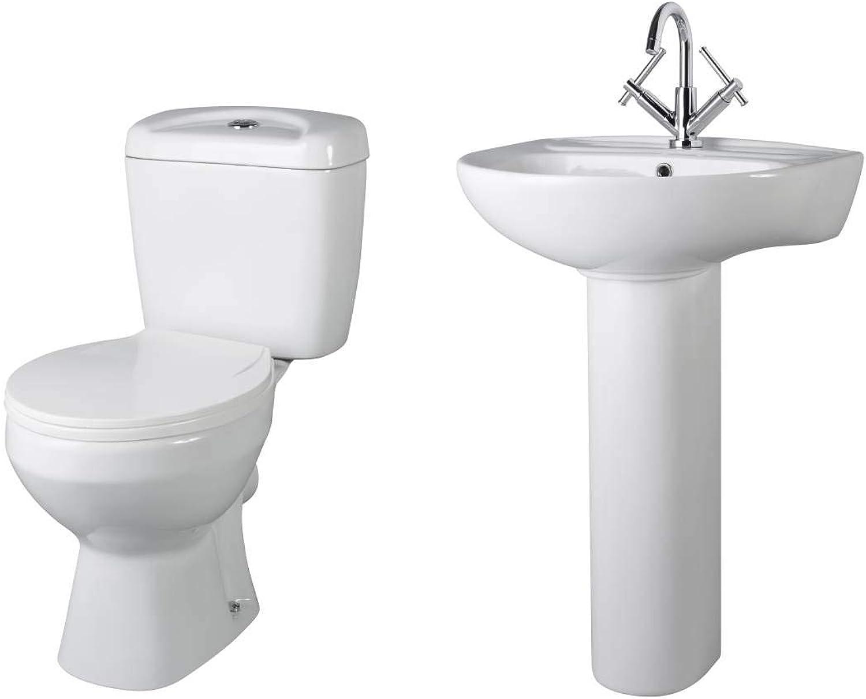 VeeBath Base 5 Piece WC Set Bathroom Pan, Cistern, Seat, Basin Pedestal White