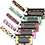 5 Pieces Zip ID Case Wallet with Lanyard Coin Purse with ID Window Lanyard Wallet Card Holder, 5 Patterns