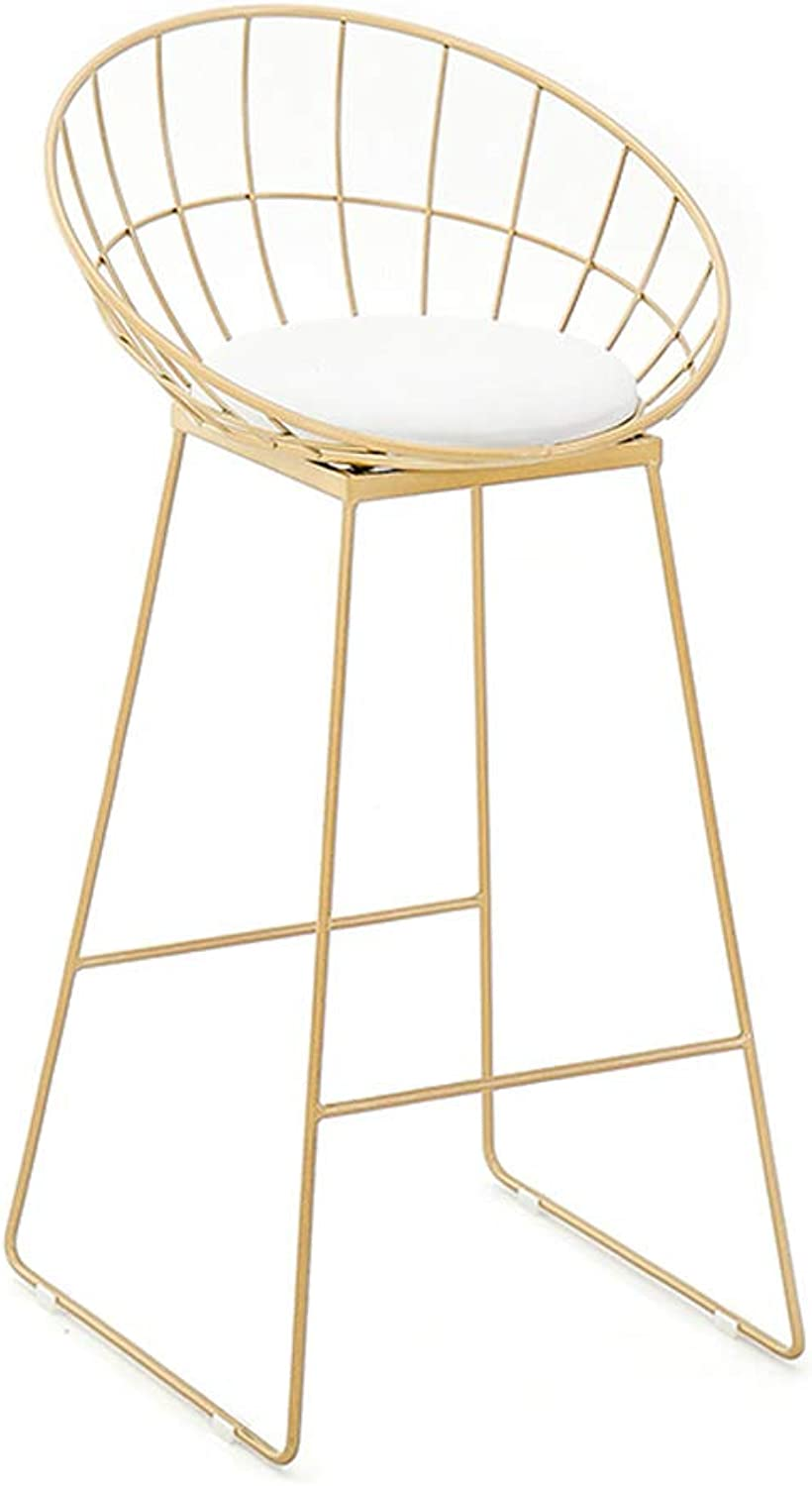LYXPUZI Barhocker Modern Furniture Chair - Bar Chair Metal Frame Dressing Table Girl Room Armchair Beauty Salon Chair Frühstücksschemel (color   gold, Size   65CM)