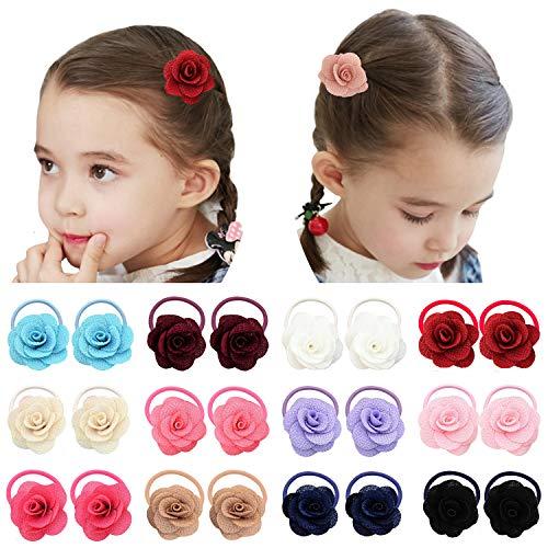 Elesa Miracle Lot de 12 paires d'élastiques pour cheveux de bébé fille - 4,1 cm - Mini nœud pour queue de cheval - Taille unique - 12 paires de fleurs