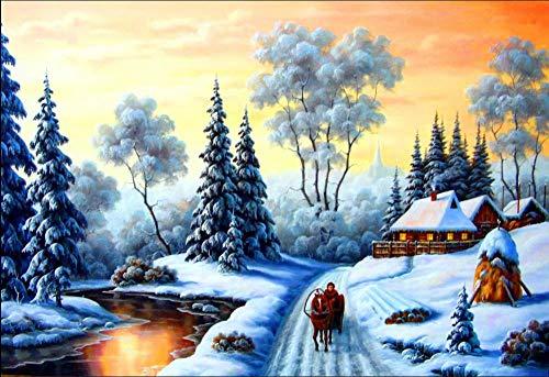 WFYY Puzzle in Legno per Adulti 1000 Pezzi I Magnifici Paesaggi Invernali, Motoslitta