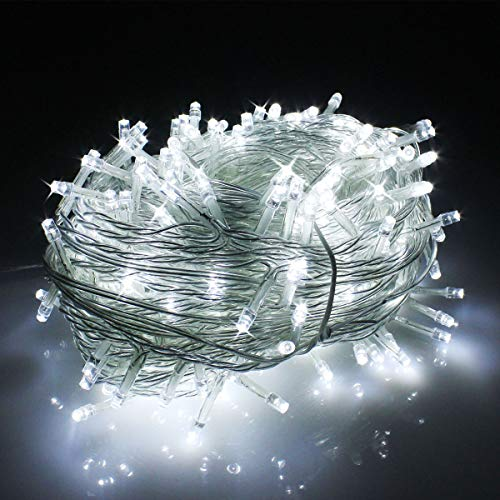 clear christmas tree lights LED Christmas Lights on Clear Cable with 8 Light Effects, Low Voltage LED String Fairy Lights Ideal for Christmas Tree Garden Wedding Party Festival Decoration (300 LEDs,Day White)