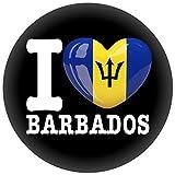 FanShirts4u Button/Badge/Pin - I Love BARBADOS Fahne Flagge (I Love Barbados)