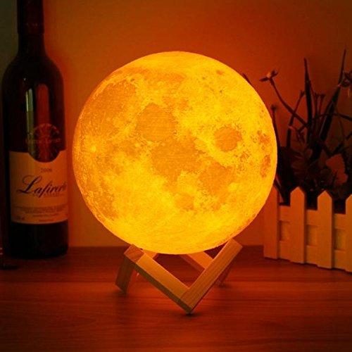 BAZAAR 18 cm magique deux ton Lune Lampe USB rechargeable Luna Veilleuse LED Capteur Tactile cadeau