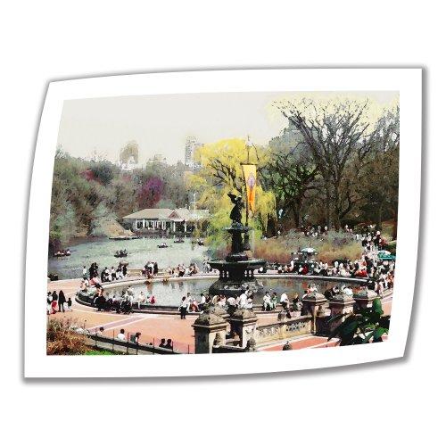 Art Wandbild Bethesda Brunnen 24von 32Brillanz Kunstdruck auf Leinwand von Linda Parker mit 2Accent Bordüre