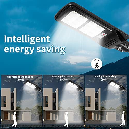 200W Solar Street Lights Outdoor Lamp, 288 LED 10000 Lumen, Light Control, IP65 Waterproof Dusk to Dawn Security Led Flood Light for Yard, Garden, Street, Basketball Court(2 Pack)