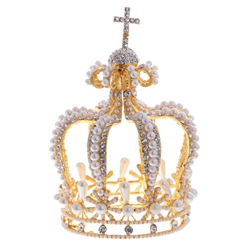 MagiDeal Corona Tiare Diadema Regalo Barocco Stile Retro Cerimonia Nuziale Carnevale Costume Cosplay - Oro