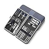 Kit de manicura y pedicura Conjunto for Hombre de la manicura del Clavo Clippers pedicura Kit 21 en 1 Acero Inoxidable Profesional Kit de Aseo, Herramientas de Cuidado de uñas con Estuche de Viaje de