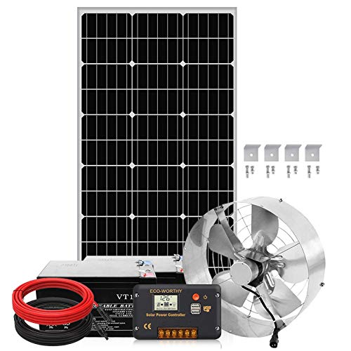 Pumplus Large Flow 3000CFM Solar Powered Attic Fan with 14Ah Battery and 100W Solar Panel Kit for Home Attic, Shed, or Garage Ventilation, Cooling up to 4,000 SQF Coverage Area