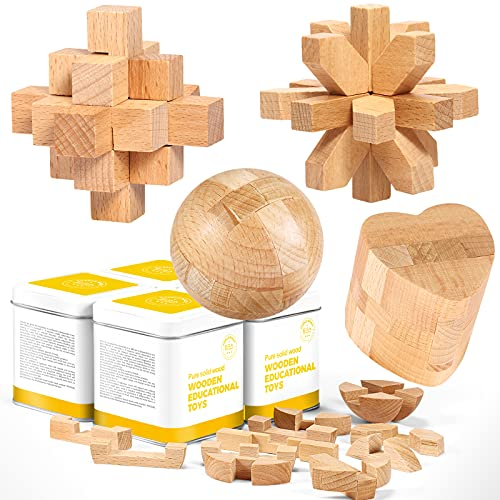 Wooden Brain Teaser Puzzle Toys for Kids Teens Adults,3D Wooden Cube Brain Teaser Puzzle,Solid Wood...