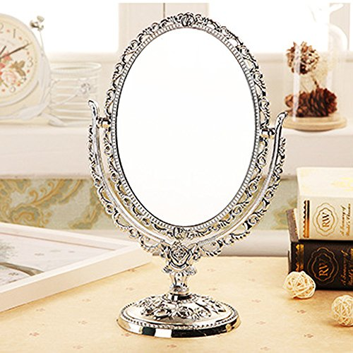 ToiM Tragbarer Spiegel im europäischen Stil, Schminktisch-Spiegel, schwenkbar, Vintage, Retro, doppelseitiger Schminkspiegel für Kommode (Silber)