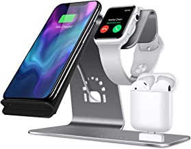3 in 1 Aluminum Stand for Apple iWatch, Charging Station for Airpods, Qi Fast Wireless Charger Dock for iPhone Xs MAX/XS/XR/X/8/7/6s Plus Samsung S8 and Other Qi-Enabled Devices (Gray)