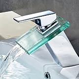 Auralum® Grifo de Lavabo Diseño Cristal Elegante Grifo de Baño Cocina Cascada Monocommando Cromo-plateada Latón y Vidrio (Tipo A)