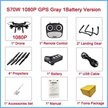 SJRC S70W GPS Drone with WiFi FPV HD Camere Double GPS Altitude Hold Follow Me RC Drone Helicopter V x183 x21 SG900S Quadcopter S70W 1080P Black