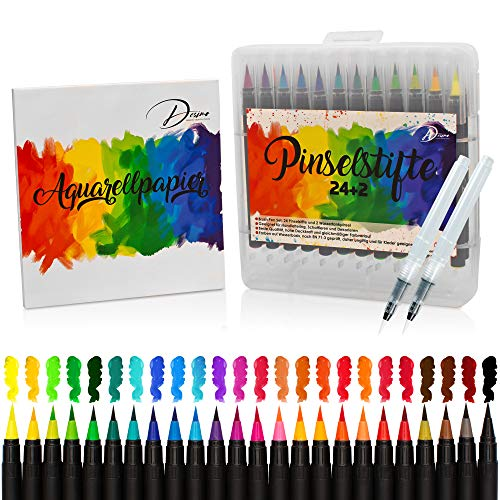 Desimo Pinselstifte Set - 38er Brush Pen Set - kostenloser Aquarellpapierblock - 24 Aquarellstifte, 2 Wassertankpinsel - für Anfänger und Profis
