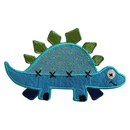 Stegosaurus 11X7cm Aufbügler Flicken Stoff Patch Kleider Aufnäher Bügelbild zum Bügeln auf Wimpel Rucksack Tasche Hut Schal Jeans Jacke Kissen Türschild Decke Hosen Fahne Hemd Kleider Kappe Rock Turn