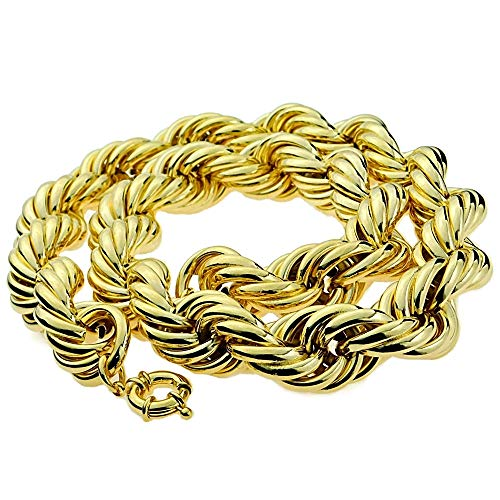 Bling Cartel Huge Mens 14k Gold Plated Chain Hollow Rope Dookie 25MM Wide x 30' Hip Hop Rapper Necklace