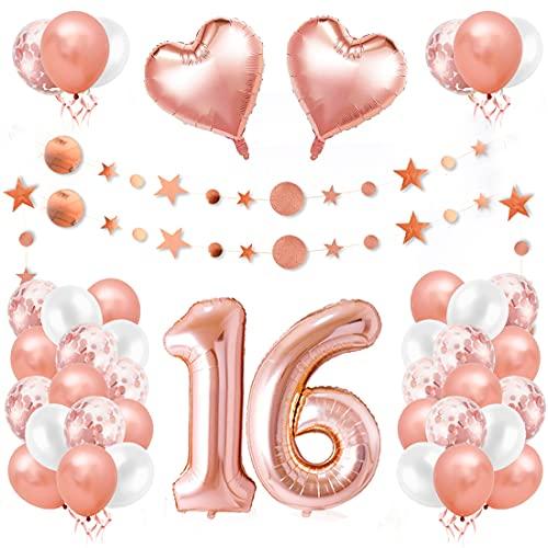 16er Cumpleaños Globos, Decoración de Cumpleaños 16 en Oro Rosa, Cumpleaños 16 Año, Feliz Cumpleaños Decoración Globos 16 Años, Decoracion Cumpleaños para Niñas y Mujeres