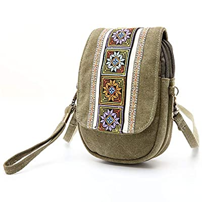 Goodhan Embroidery Canvas Crossbody Bag Cell phone Pouch Coin Purse for Women Girls,Army Green
