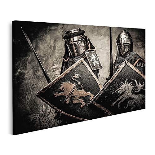 islandburner Cuadro en Lienzo Caballeros Medievales contra el Muro de Piedra Cuadros Modernos Decoracion Impresión Salon