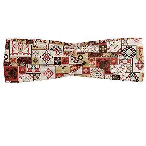 Abakuus Bandana bandana en forme de carreau avec carrés de différentes tailles inspirées de l'Orient orientale, élastique et confortable pour tous les jours, crème foncée Coral Brown