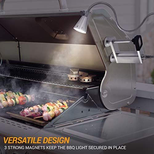 LED Concepts BBQ Grill Lights Magnetic Base Super-Bright LED Lights-360 Degree Flexible Gooseneck, Weather Resistant, Task Lighting Barbecue Grilling, Works (1 Pack)