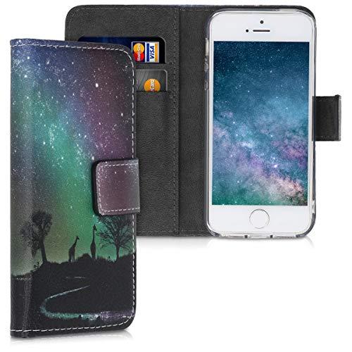 kwmobile Hülle kompatibel mit Apple iPhone SE (1.Gen 2016) / 5 / 5S - Kunstleder Wallet Case mit Kartenfächern Stand Sternenhimmel Giraffe Schwarz Dunkelblau Pink
