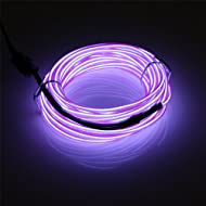 JIGUOOR EL Wire 5m/16.4ft Battery Pack, Bright Neon EL Wire Lights Tube Rope 360° Flexible 3 Mode Il...