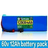 Paquete de batería 60V 12AH 1000W Batería de Iones de Litio 67.2V 12000mAh batería de Bicicleta eléctrica batería de Silla de Ruedas eléctrica e batería de Motocicleta