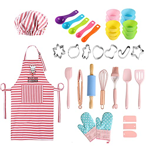 BBplusDD Kids Baking and Cooking Sets - 38 Pcs Real Baking Supplies for Junior Chef Includes Kids Apron and Chef Hat, Baking Utensils - Complete Gift Cooking Kits for The Curious Child