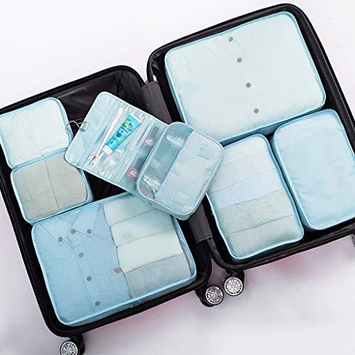 DSJSP Juego de cubos de embalaje de 7 cubos de embalaje impermeables para guardar ropa, equipaje de viaje, organizadores con bolsa de zapatos con bolsa de lavandería/aseo (color D: D)