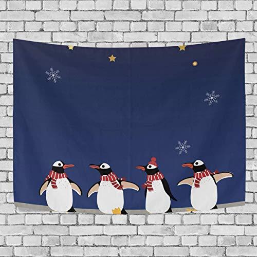 N\A Bonito pingino de Invierno, Disfraz de Navidad, Tapiz para Dormitorio, Exclusivo para Colgar en la Pared, tapices de Fondo Multiusos para Sala de Estar, Entrada y Cocina