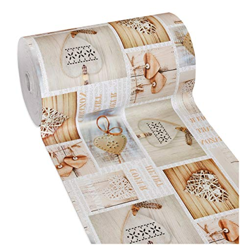 Tappeto Cucina Gomma Shabby Chic Cuori Antimacchia Antiscivolo Passatoia Varie Misure Multiuso Bagno Camera MOD.Mendy Dis.13 50x190