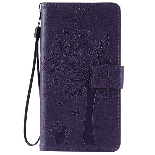 ISAKEN Kompatibel mit Samsung Galaxy Note 4 Hülle, PU Leder Flip Cover Brieftasche Ledertasche Handyhülle Tasche Case Schutzhülle mit Handschlaufe Strap für Samsung Galaxy Note 4 - Baum Katze Lila